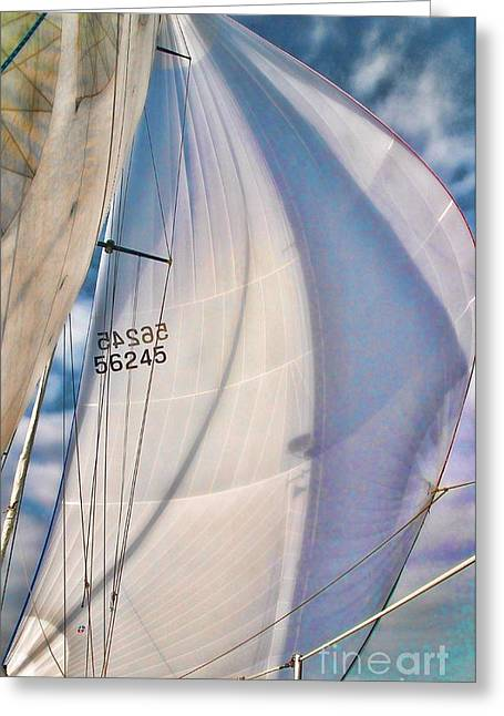 Tall Ships Greeting Cards - Under sail Greeting Card by Philippe Gadeyne