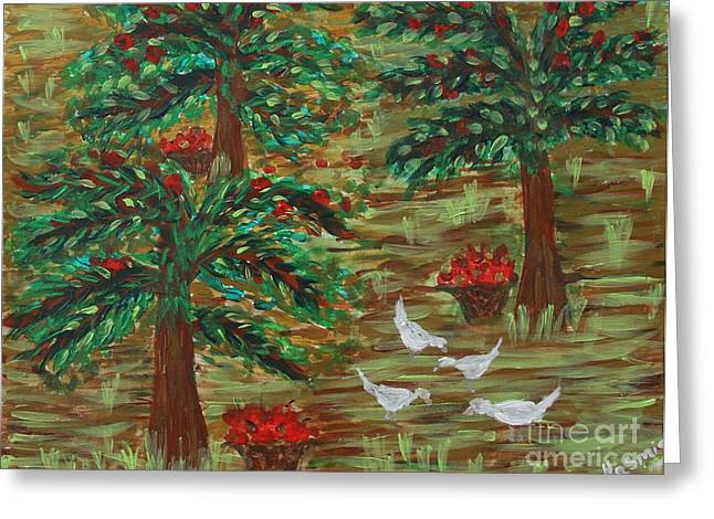 Love The Animal Greeting Cards - Under the Apple Tree Greeting Card by Jasmine Tolmajian