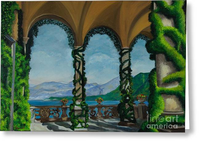 Lake Como Paintings Greeting Cards - Under The Arches At Villa Balvianella Greeting Card by Charlotte Blanchard