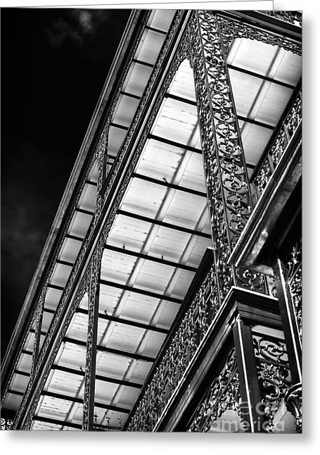 Old School House Greeting Cards - Under the Balcony Greeting Card by John Rizzuto