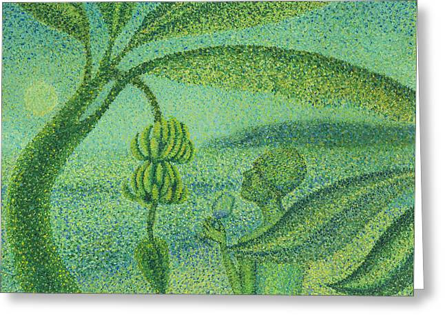 On The Beach Drawings Greeting Cards - Under the Banana Tree Greeting Card by Sean Corcoran