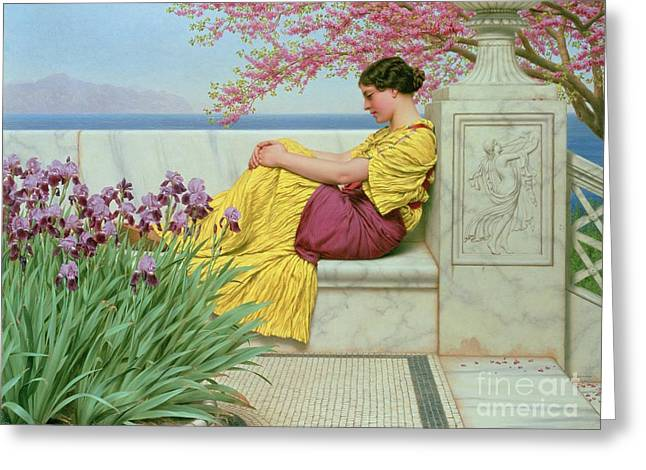 Neo Greeting Cards - Under the Blossom that Hangs on the Bough Greeting Card by John William Godward