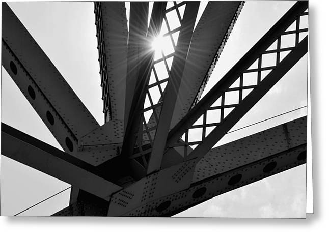 Abstract Shapes Greeting Cards - Under the Bridge B n W Greeting Card by Richard Andrews