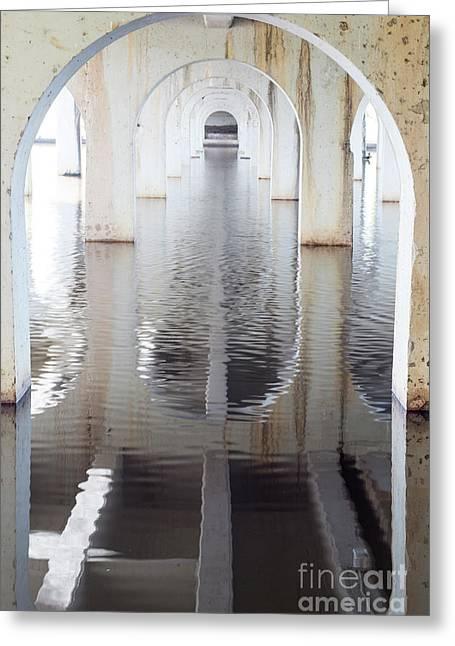Under The Bridge Greeting Card by Linda Lees