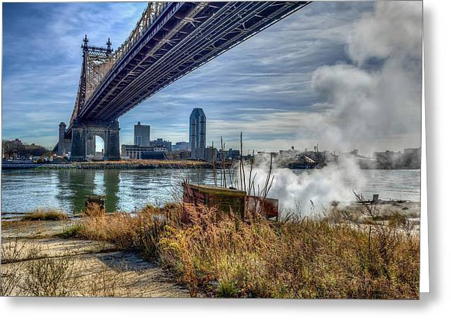 Long Street Greeting Cards - Under the Bridge on a Cold Day Greeting Card by Kenneth Laurence  Neal