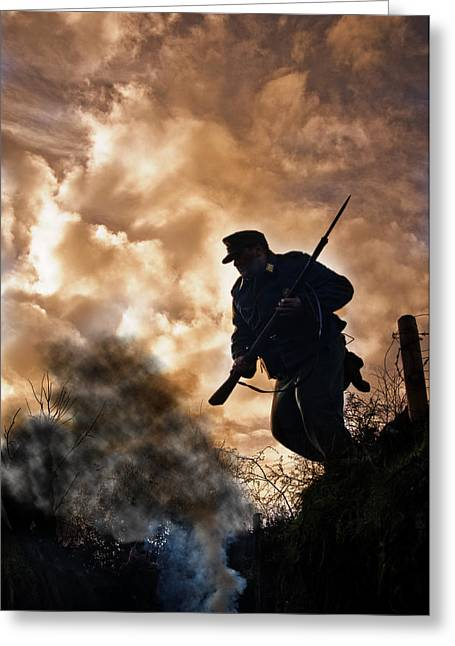 Under Fire Greeting Cards - Under The Burning Sky Greeting Card by Mark H Roberts