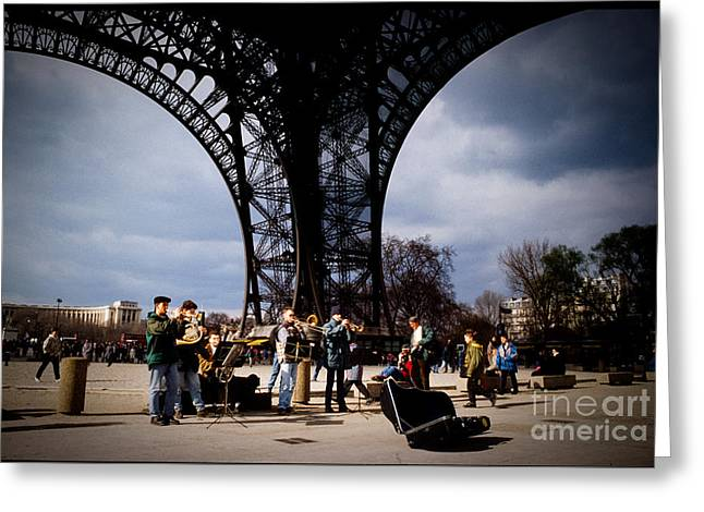 People Pyrography Greeting Cards - Under the feet of the Eiffel Tower. Greeting Card by Cyril Jayant