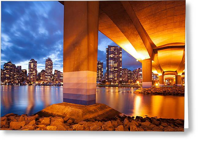 Cambie Bridge Greeting Cards - Under the Golden Bridge Greeting Card by Alan W