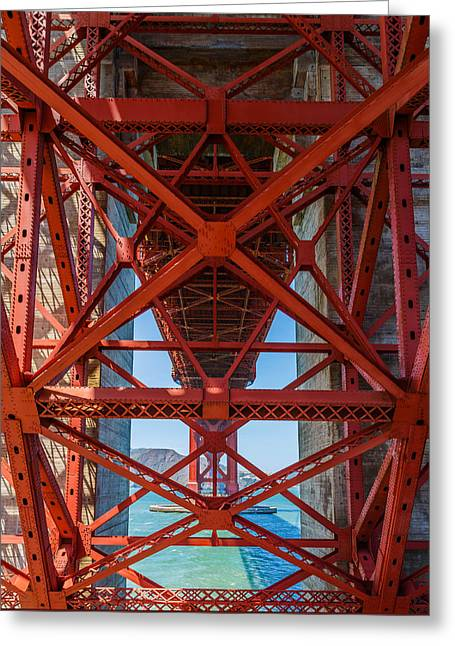 Under The Golden Gate Bridge Greeting Card by Sarit Sotangkur
