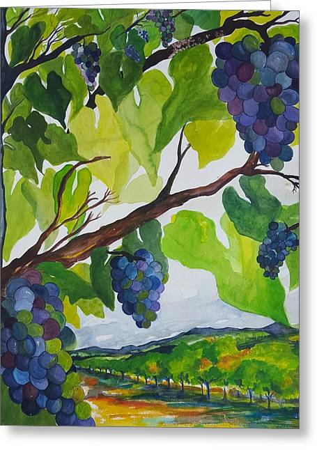 Blue Grapes Greeting Cards - Under the Grapevine Greeting Card by Nancy Martins