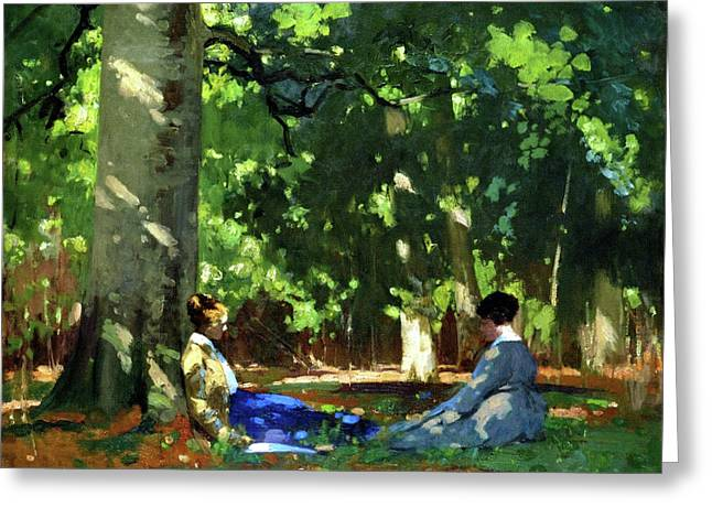 Under The Greenwood Tree Greeting Card by George Henry