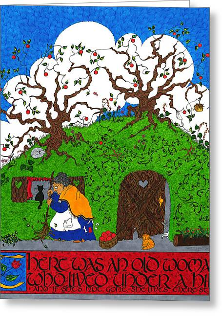 Nursery Rhyme Mixed Media Greeting Cards - Under The Hill Greeting Card by Michele Sleight