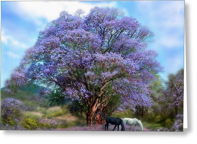 Horses Art Print Greeting Cards - Under The Jacaranda Greeting Card by Carol Cavalaris
