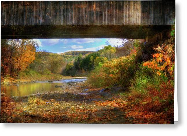 Under The Lincoln Covered Bridge - Woodstock, Vt. Greeting Card by Joann Vitali