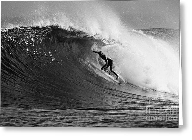 Kelly Slater Greeting Cards - Under the Lip in Black and White Greeting Card by Paul Topp