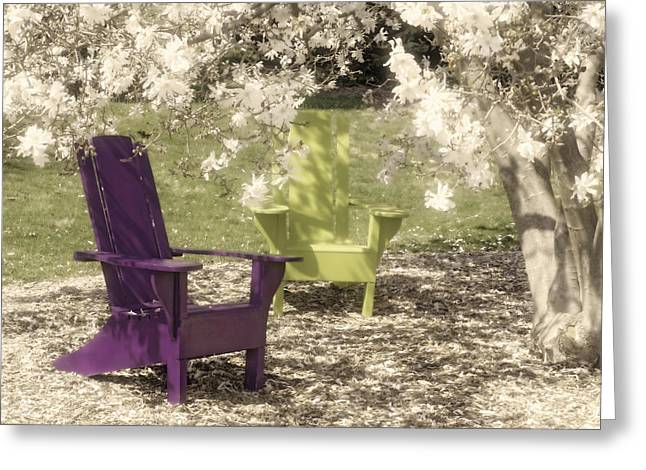 Chairs Greeting Cards - Under The Magnolia Tree Greeting Card by Tom Mc Nemar