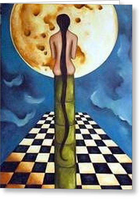 Craters Paintings Greeting Cards - Under the Moon Greeting Card by Leah Saulnier The Painting Maniac