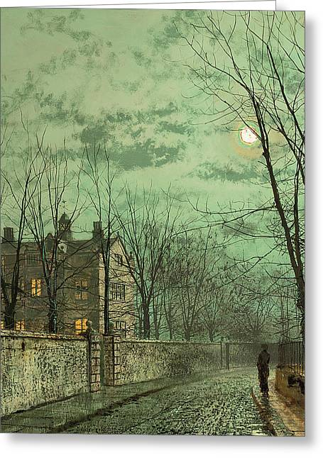Twisting Greeting Cards - Under the Moonbeams Greeting Card by John Atkinson Grimshaw