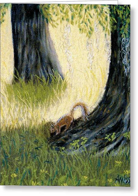 Moss Green Pastels Greeting Cards - Under The Mossy Oak Greeting Card by Jan Amiss