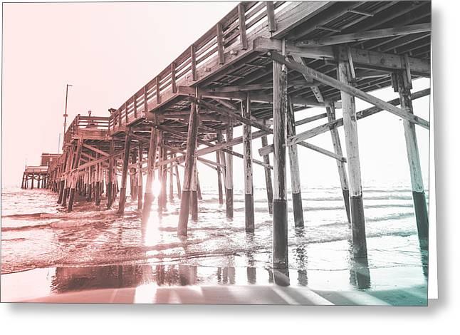 Under The Newport Pier At Sunset Greeting Card by Ariane Moshayedi