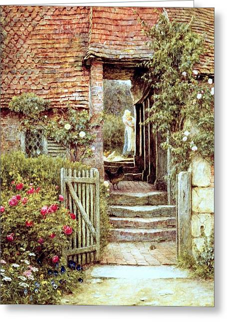 Picturesque Paintings Greeting Cards - Under the Old Malthouse Hambledon Surrey Greeting Card by Helen Allingham