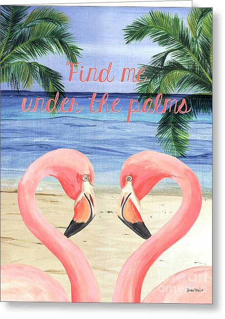 Under The Palms Greeting Card by Debbie DeWitt