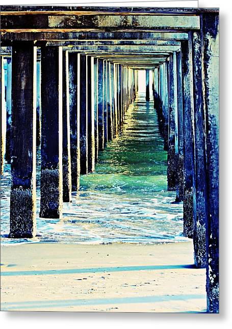 Reflecting Water Greeting Cards - Under The Pier Greeting Card by Kathy Henderson