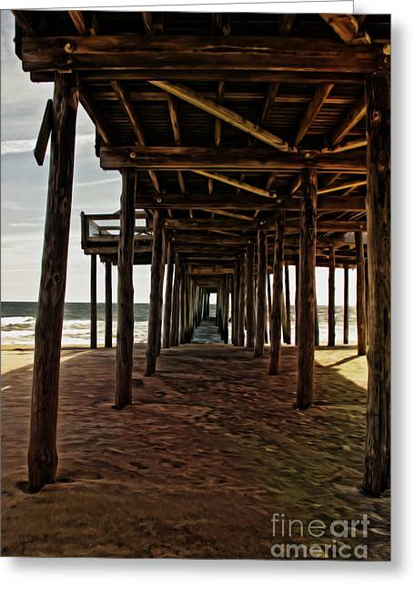 Ocean Images Greeting Cards - Under The Pier Greeting Card by Tom Gari Gallery-Three-Photography
