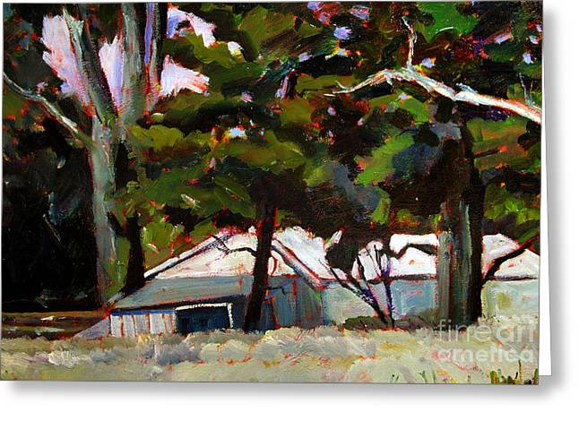 Shed Paintings Greeting Cards - Under the PINES Greeting Card by Charlie Spear