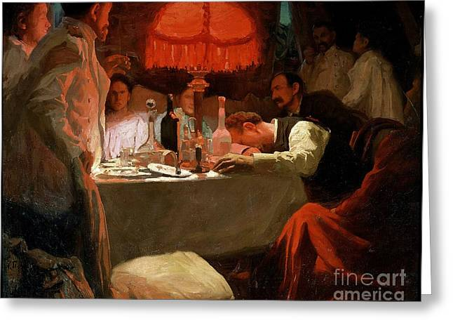 Decadence Greeting Cards - Under the Red Light Greeting Card by Lukjan Vasilievich Popov