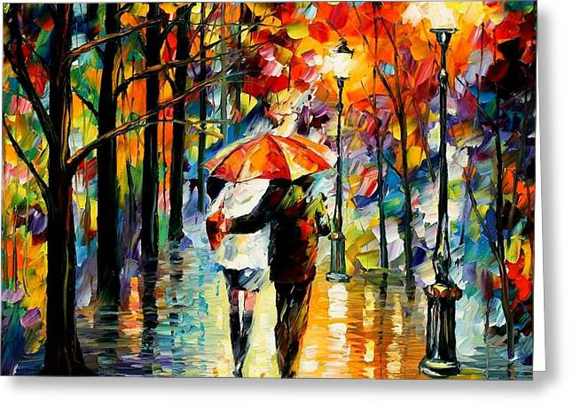 Afremov Greeting Cards - Under The Red Umbrella Greeting Card by Leonid Afremov