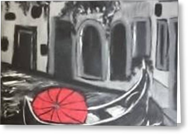 Gondolier Drawings Greeting Cards - Under the red umbrella - Venice Greeting Card by Lori Lee