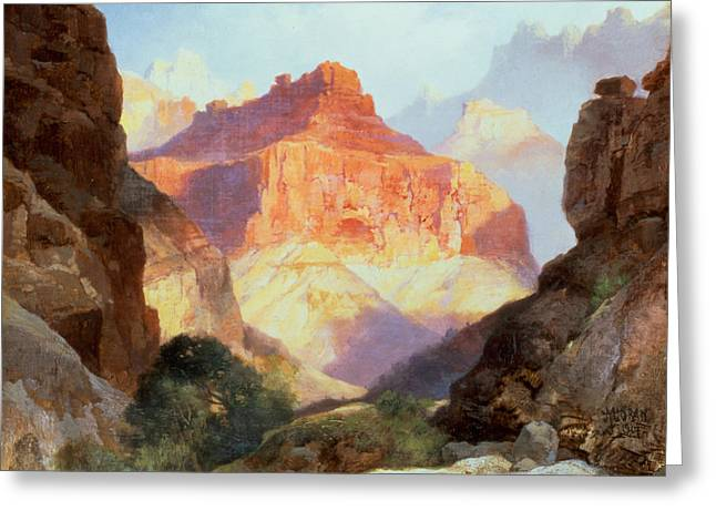 Hills Greeting Cards - Under the Red Wall Greeting Card by Thomas Moran