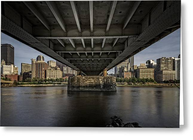 Monongahela River Greeting Cards - Under The Roberto Clemente Bridge Greeting Card by Rick Berk