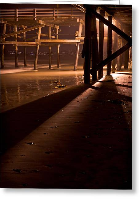 Clemente Greeting Cards - Under the San Clemente Pier at Night Greeting Card by Richard Daugherty