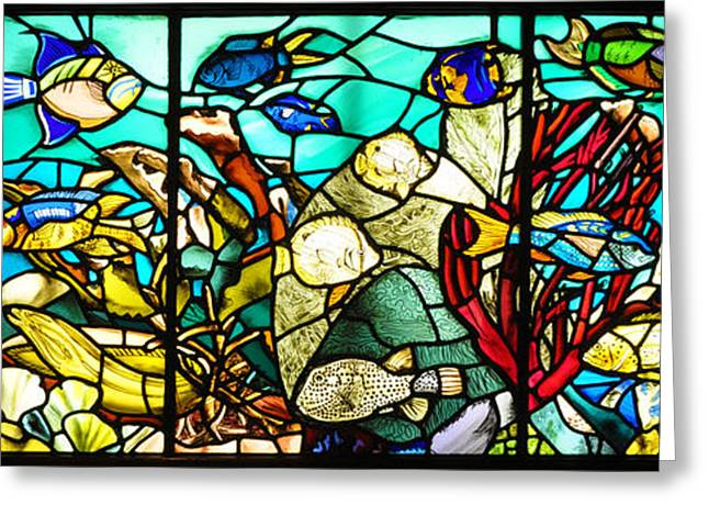 Fish Digital Greeting Cards - Under the Sea - Stained Glass Greeting Card by Bill Cannon