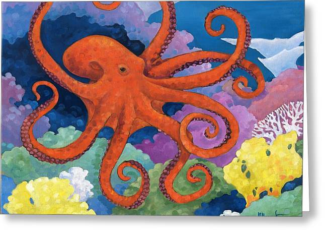 Sea Life Greeting Cards - Under the Sea - Octopus Greeting Card by Paul Brent