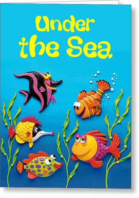 Aquarium Fish Mixed Media Greeting Cards - Under the Sea Poster Greeting Card by Amy Vangsgard