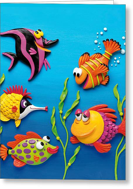 Under The Sea Square Greeting Card by Amy Vangsgard