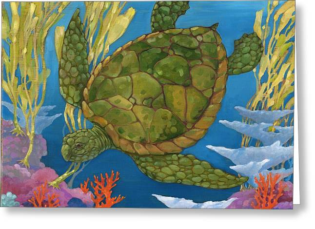 Sea Life Greeting Cards - Under the Sea - Turtle Greeting Card by Paul Brent