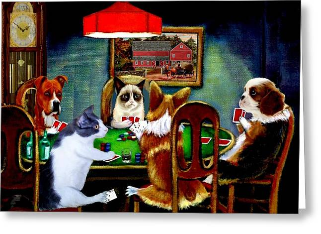 Four Aces Greeting Cards - Under the Table Greeting Card by Ronald Chambers