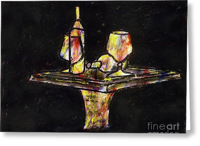 Table Wine Mixed Media Greeting Cards - Under the Table Greeting Card by Samir Patel