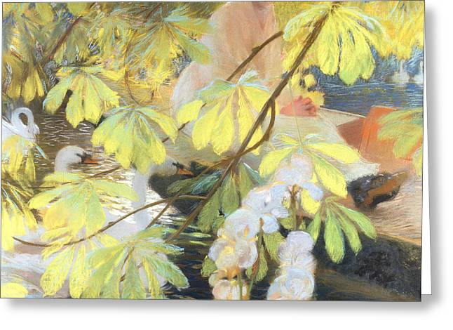 Swans... Greeting Cards - Under the Tree Greeting Card by Gaston de Latouche