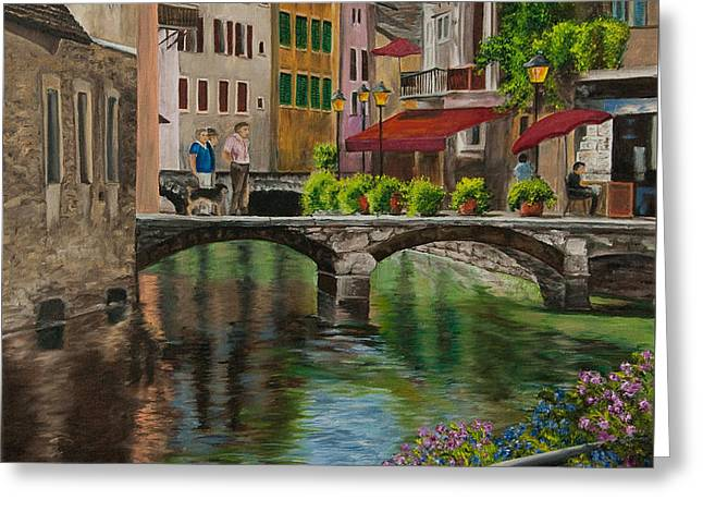 Village In France Greeting Cards - Under the Umbrella in Annecy Greeting Card by Charlotte Blanchard