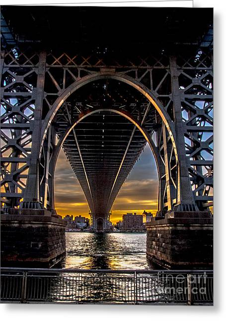 Grey Clouds Greeting Cards - Under the Williamsburg Bridge Greeting Card by James Aiken
