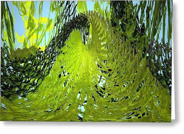 Green Ocean Glass Greeting Cards - Under Water Greeting Card by Merja Waters