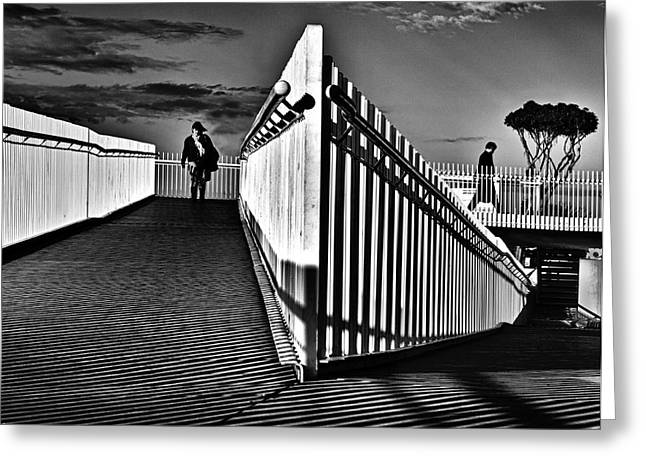 Monochrome Greeting Cards - Underground Hall Greeting Card by Louis Agius