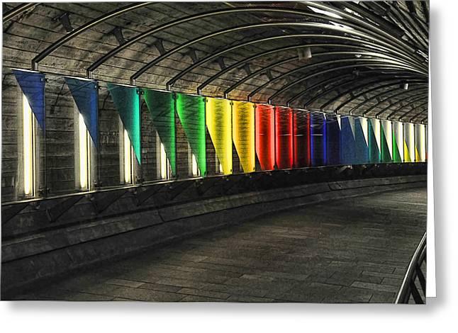 Oslo Greeting Cards - Underground Rainbow Greeting Card by Gareth Davies