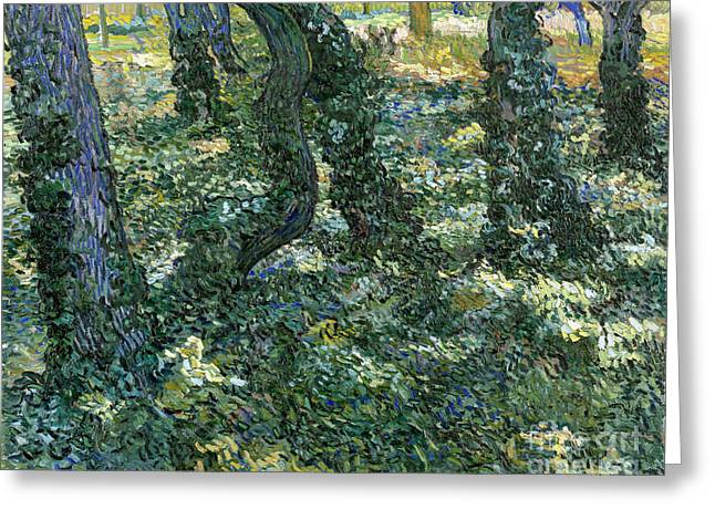Vintage Painter Greeting Cards - Undergrowth Greeting Card by Van Gogh