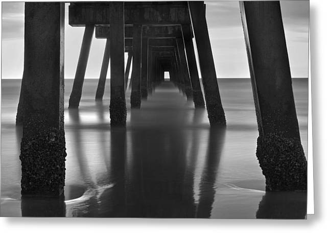 Foggy Beach Greeting Cards - Underneath the Pier - Jacksonville Beach - Florida - Black and White Greeting Card by Jason Politte